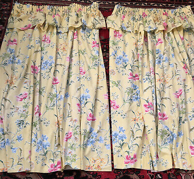"""£39.99 • Buy Laura Ashley Floral Curtains Tie BacKs Lined Festoon Country Cottage 60""""W X 52""""L"""