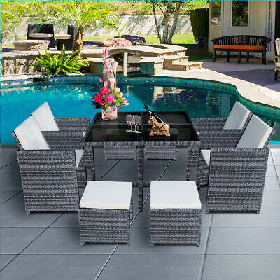 £359.99 • Buy 5/9/11 Piece Rattan Garden Outdoor Furniture Set Dining Chairs Table