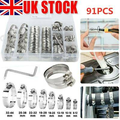 £9.09 • Buy 91pc Assorted Stainless Steel Hose Clamp Kit With No Driver Jubilee Clip Set UK