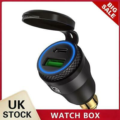 £13.49 • Buy DIN Plug To QC3.0 + PD USB Charger W/ LED Light For Motorcycle (Black+Blue)