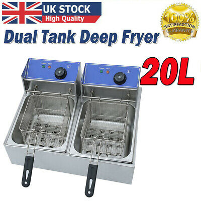 £76.99 • Buy 20L Commercial Electric Deep Fryer Twin Fat Chip Dual Tank Stainless Steel 4U