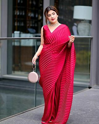 £20.23 • Buy Pure Georgette Silk Bollywood Party Wear Sari Blouse Indian Designer Fancy Saree