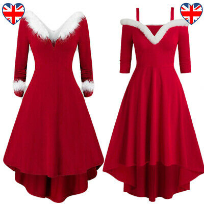£19.99 • Buy Sexy Mrs Santa Claus Outfit Xmas Party Costume Lady V Neck Christmas Fancy Dress