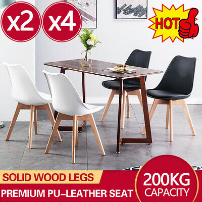 AU49 • Buy 4x Dining Chairs Kitchen Table Chair Lounge Room PU Wood Retro Padded Seat