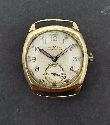 £93 • Buy Vintage Rotary Super Sports Solid 9K Gold Cushion Case 40s Wristwatch