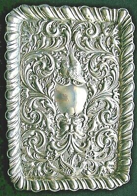 £10.50 • Buy Edwardian Embossed Hm Silver Tray (b`ham 1903) 11 3/4 X  8 1/4 Inches .nice Item