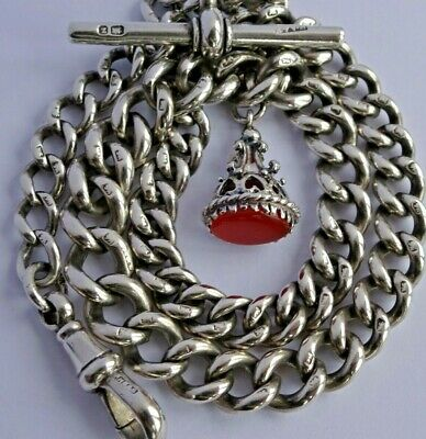 £135 • Buy Superb Antique Solid Silver Pocket Watch Albert Chain And Carnelian Fob Seal