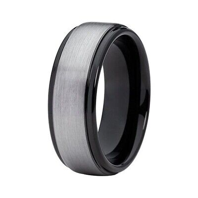 £4.49 • Buy 8MM Titanium Stainless Steel With Silver Brushed Matte Centre Ring Wedding Band