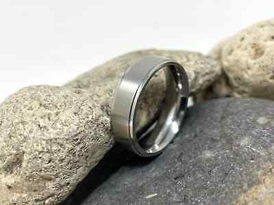 £4.49 • Buy 8MM Silver Tone Titanium Stainless Steel Brushed Matte Centre Ring Wedding Band
