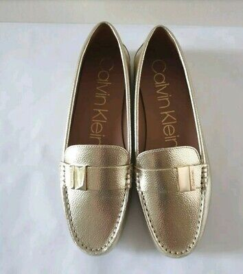 £28 • Buy Calvin Klein Women's Shoes Size 6 UK 39 EU Gold Flat Comfortable Loafers New