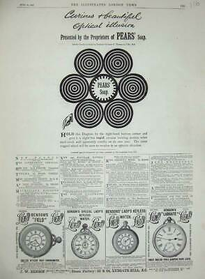 £17 • Buy Original Old Antique Print 1887 Advertisement Pears Soap Benson'S Watch Ludgate
