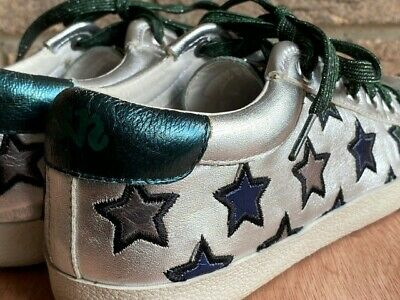 £19.99 • Buy ASH Majestic Star Motif Silver Leather Trainers, Size 4 (37)