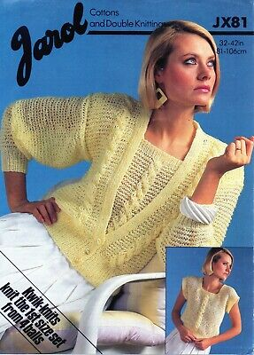 £1.90 • Buy ~ Jarol Knitting Pattern For Lady's Cable Panel Cardigan & Top ~ 32  ~ 42   ~
