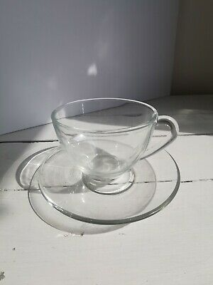 £6.99 • Buy Glass Teacup And Saucer Arcoroc France French Clear Glass Coffee Cup