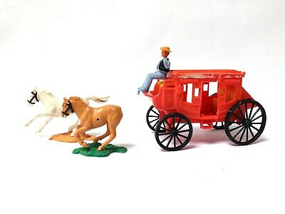 £10 • Buy Vintage 1970s Plasty Western Stagecoach 1/32 Timpo Wild West Horses + Cowboy