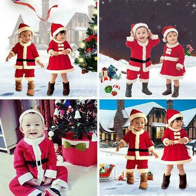 £10.99 • Buy Kids Baby Boys & Girls Christmas Xmas Party Santa Claus Costume Outfit Set +Hat