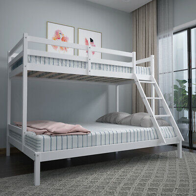 £52 • Buy Triple Bunk Beds Double Bed With Stairs For Kids Children White Wooden Bed Frame