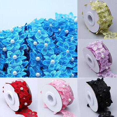 £2.59 • Buy 1 Roll Wedding Craft Flower DIY Pearl Lace Embroidered Ribbon Clothing Sewing