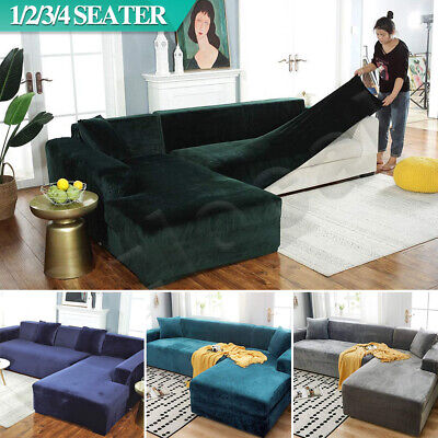 AU32.99 • Buy Velvet Sofa Cover Couch Covers 1 2 3 4 Seater Slipcover Lounge Protector Stretch
