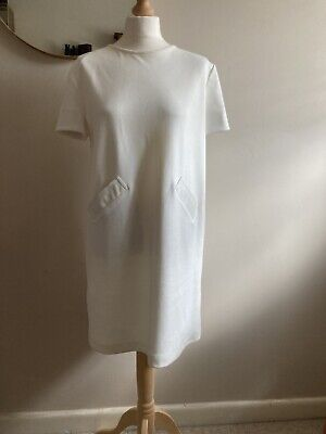 £8 • Buy Zara Cream Shift Dress With Faux Leather Pocket Trims Size L