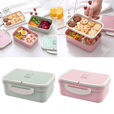 AU12.99 • Buy Student Microwave Wheat Straw Bento Lunch Box Picnic Food Storage Container Kids