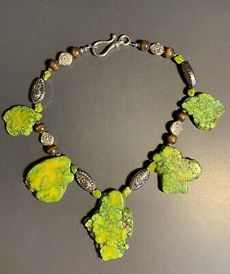 """£20 • Buy Native American Green Turquoise Necklace 16"""" Ethnic Statement Piece"""