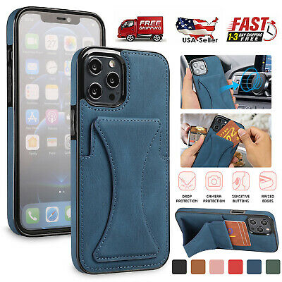 AU14.33 • Buy Leather Wallet Card Holder Stand Case For IPhone 13 12 Pro Max 11 XS XR 8 7 Plus