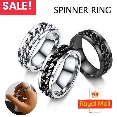 £5.59 • Buy Rings Stainless Steel Rings Band Spin Chain Ring Fashion Jewelry Mens Womens UK