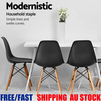 AU66.62 • Buy 2/4PC Dining Chair Backrest Seat Home Office Cafe Rest Lounge Kitchen Wooden Leg