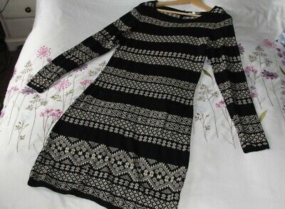 £4.19 • Buy Monsoon Fairisle Nordic Knitted Sweater Dress Size S Black And White