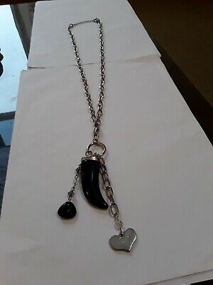 £0.99 • Buy Lovely Long Thick Silver Tone Chain With Black Horn Of Plenty & Charms. 28