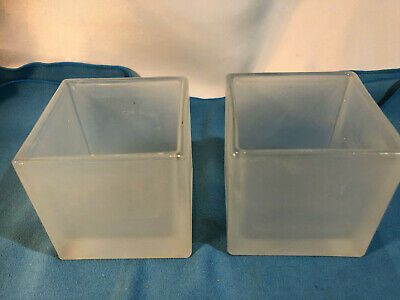 £10 • Buy Pair Glass Frosted Cube Vase Square Home Decor Storage Kitchen Pot Container