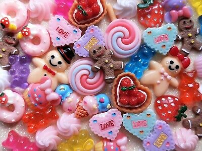 £5.95 • Buy 50 Cabochon Fake Food Sweet Embellishment Mixed Resin Decoden Craft