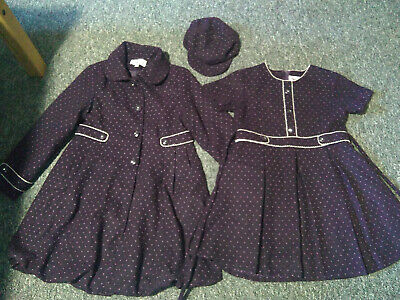 £25 • Buy Girls 3 Piece Outfit, Hat , Coat And Dress. By Couche Tot. Age 9-10 Years
