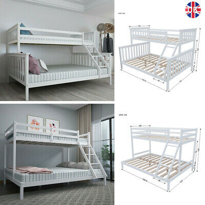 £159.95 • Buy White Triple Sleeper Bunk Bed Wooden Bed Frame For Children Adults Headboard Bed
