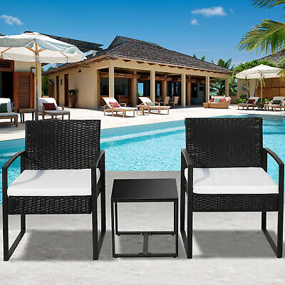 £147.99 • Buy 3 Piece Patio Garden Rattan Furniture Sofa Set With 2 Armchairs And 1 Table W5I9