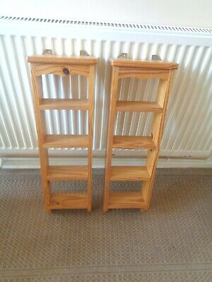 £10 • Buy Two Wooden Wall Hanging Shelving Units Four Shelves In Each