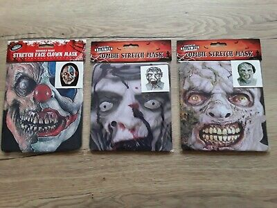 £3.49 • Buy Halloween Scary Stretch Undead Zombie Clown Face Mask Adult Fancy Dress Party