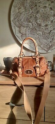 £22 • Buy Fossil Maddox Tan Leather Shoulder/Cross Body Bag With Snake Emboss