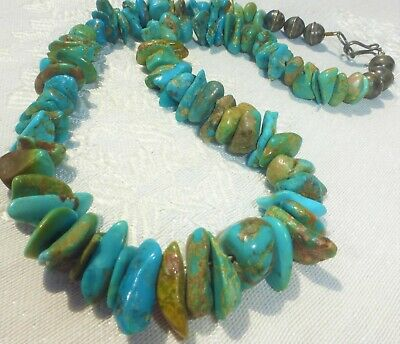 £14.91 • Buy Native American Jewelry Vintage Chunky Turquoise Nugget And Sterling Necklace