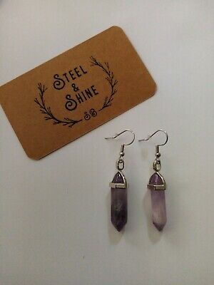 £6 • Buy Natural Amethyst Earrings With Sterling Silver Hooks
