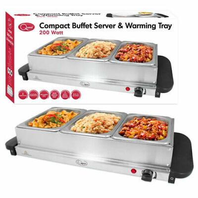£24.99 • Buy Quest Compact Buffet Server Stainless Steel Food Warming Tray Serving Station