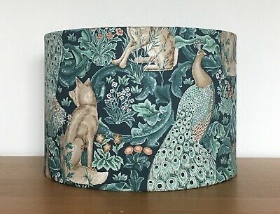 £30 • Buy William Morris Teal Forest Peacock Fox Hare Fabric Lampshade Pendant Table Lamp