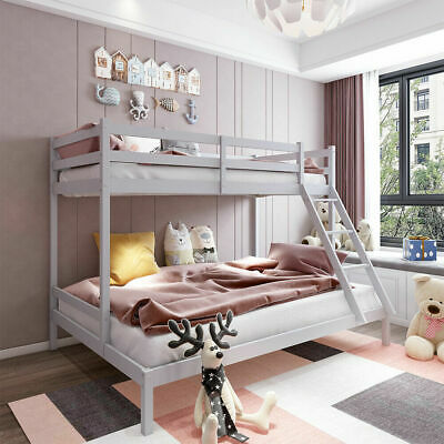 £59 • Buy Triple Bunk Bed 3FT Single & 4FT6 Double Bed Frame Solid Wooden Pine With Stair