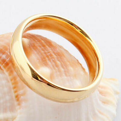 £1.35 • Buy Smooth Gold Rings Band Ring For Womens Mens 18K Gold Plated Ring Jewelry Size 7