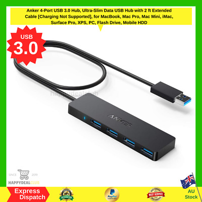 AU24.70 • Buy Anker 4-Port USB 3.0 Hub Ultra-Slim Data USB Hub With 2 Ft Extended Cable NEW AU