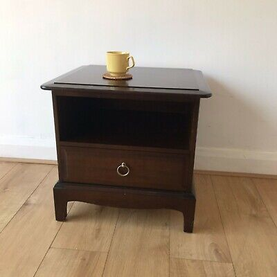 £95 • Buy Vintage Stag Minstrel Bedside Table 1960s African Cherry Mahogany Retro MCM