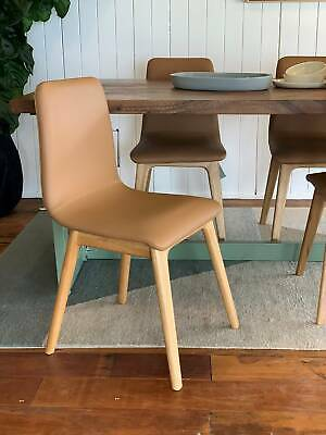 AU350 • Buy Tan Leather Dining Chair - Solid Oak Timber Legs.
