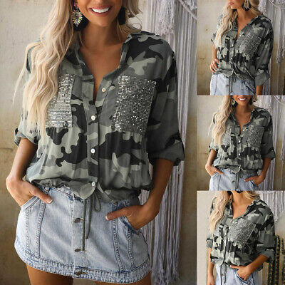 £5.09 • Buy Womens Sequin Camo Shirt Button Up Long Sleeve Casual Loose Tops Blouse UK 6-12