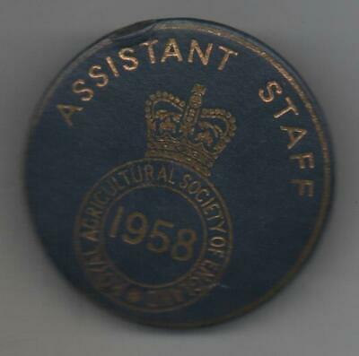 £5.50 • Buy 1958 Royal Agricultural Society Of England  Badge Assistant Staff